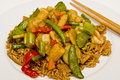 Stir Fry on Brown Rice Royalty Free Stock Images