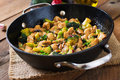 Stir fry chicken with broccoli and mushrooms chinese food Royalty Free Stock Photos