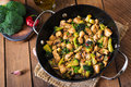 Stir fry chicken with broccoli and mushrooms chinese food Stock Images