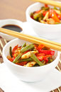 Stir fry chicken with sweet peppers and green beans Royalty Free Stock Images