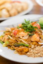 Stir fry rice noodles and shrimp Royalty Free Stock Photo