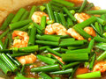 Stir fry of shrimp with vegetables Stock Image