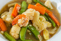 Stir fry vegetables and shrimp with bean curd Royalty Free Stock Images