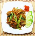 Stir soy sauce pork thai food Stock Photo