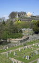Stirling castle and holy rude graveyard scotland the church of the was founded in during the reign of david i as the parish church Royalty Free Stock Image