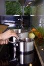 Stirring in the saucepan Royalty Free Stock Photo