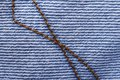 Stitch for denim closeup fabric texture macro Stock Image