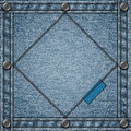 Stitched denim background with rivets and copyspace Stock Image