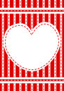 Stitched red heart border frame invitation or valentines day card with and stripes Stock Images