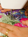 Stitching on sewing machine Stock Photo