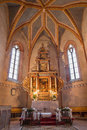Stitnik main altar with the paints by hans von achen december and presbytery of gothic evangelical church in on december Stock Photo