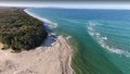 Stock aerial picture image of noosa north shore photograph at tewantin with views to fraser island where wd four wheel drives Stock Photo