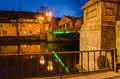 Stock birzos bridge in klaipeda lithuania old town at night Royalty Free Stock Image