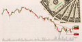 Stock chart and US money as background. view from above Royalty Free Stock Photo