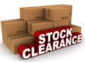 Stock clearance sale concept cartons lying around with words in front white background Royalty Free Stock Photo