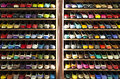 Stock colorful ballerinas shoes shelves store Royalty Free Stock Photo