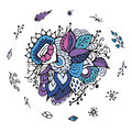 Stock flower, doodle pattern. abstract art background Royalty Free Stock Photo