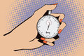 Stock illustration. Style of pop art and old comics. Stopwatch in hand.