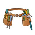 Stock illustration of tool belt vector with different tools for construction Royalty Free Stock Photos