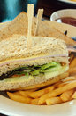 Stock image of Club sandwiches with fries Royalty Free Stock Photo