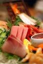 A colorful platter of sashimi sushi Royalty Free Stock Photo