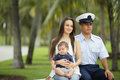 Stock image of a military family in the park Stock Photos