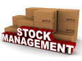 Stock management words next to boxes of inventory on white background Stock Image