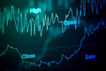 Stock Market Chart in Blue Royalty Free Stock Photo