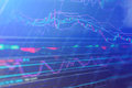 Stock market chart, Stock market data in blue on LED display con Royalty Free Stock Photo