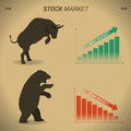 Stock market concept bull vs bear are facing and fighting on bro