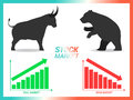 Stock market concept bull vs bear are facing and fighting on whi