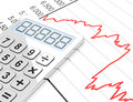 The stock market d generated picture of a chart and a calculator Royalty Free Stock Image