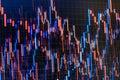 Stock market graph. Bar graphs, diagrams, financial figures. Trading on market concept. Closeup photo. Stock trade live forex