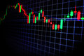 Stock market green and red graph with black background , Forex market , trading. Royalty Free Stock Photo