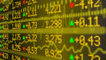 Stock market ticker wall in yellow Royalty Free Stock Photo