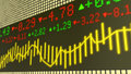 Stock market ticker in yellow Royalty Free Stock Photo