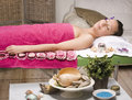 Stock photo attractive lady getting spa treatment in salon Stock Photo