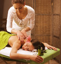 Stock photo attractive lady getting spa treatment in salon Stock Photos