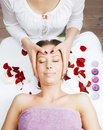 Stock photo attractive lady getting spa treatment in salon massage doctor smiling care pretty hands taking close up Royalty Free Stock Photography