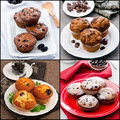 Stock photo collage of muffins with chocolate berry fruit mint on plate Stock Photography