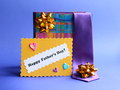 Stock Photo Fathers Day Card and Gifts Royalty Free Stock Photo