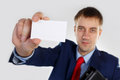 Stock photo man with a business card and portfolio Stock Images