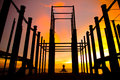 Stock photo silhouette of construction site background Royalty Free Stock Photos