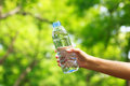 Stock photo woman hand holding water bottle against green back background Stock Image