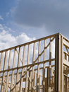 Stock photo of wood frame housing construction Royalty Free Stock Photos