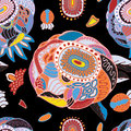 Stock seamless flower, doodle pattern. abstract art background Royalty Free Stock Photo