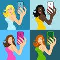 Stock set of girls make self phone Royalty Free Stock Image
