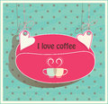 Stock suspended for hearts card oval shaped coffe coffee beans two cups loving couple Royalty Free Stock Images