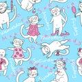 Stock Vector Illustration: seamless kittens. week. Royalty Free Stock Photo