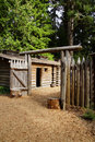 Stockade fence of fort clatsop re construction at lewis and clark national historical park oregon Royalty Free Stock Photo